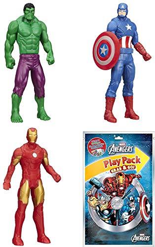 Marvel Avengers Super Hero Bundle: Hulk, Captain America, Iron Man and an Avengers Grab & Go! Play Pack