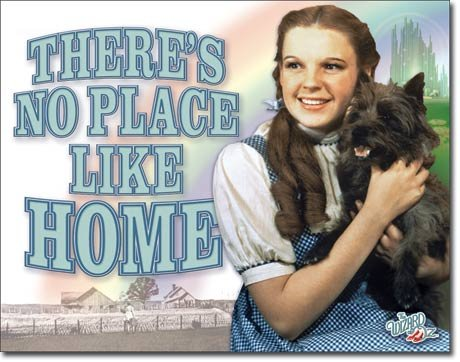 Wizard of Oz Tin Metal Sign : No Place Like Home -