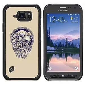 TECHCASE---Cubierta de la caja de protección para la piel dura ** Samsung Galaxy S6 Active G890A ** --Cráneo de la guirnalda Beige Azul Púrpura Muerte