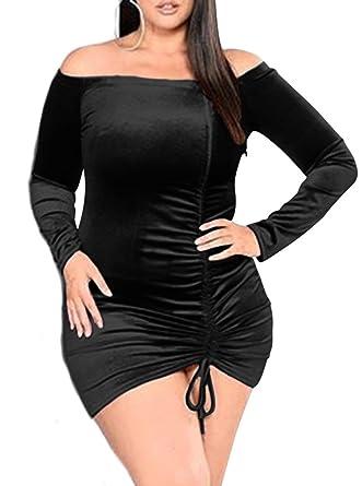 Tob Womens Sexy Plus Size Velvet Ruched Long Sleeve Mini Club Dress