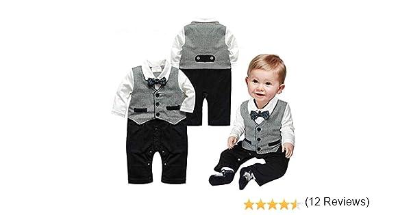 Beb/é Pelele de moda caballero manga larga Ni/ños Ropa babysuits chaleco de una pieza trajes para beb/é gris Talla:0-6 meses