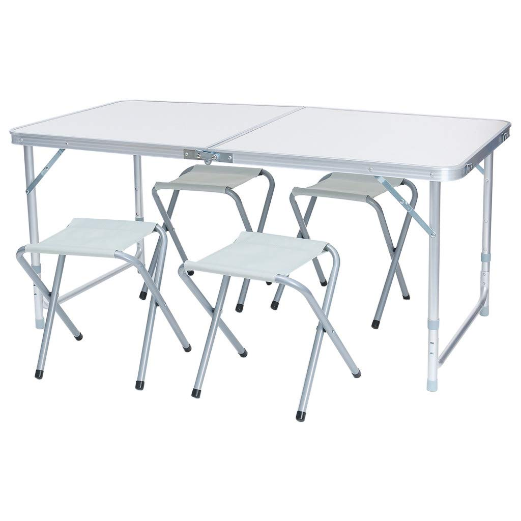Allywit Folding Outdoor Camp Suitcase Picnic Table 4 Seats, 1 Piece Table and 4 Piece Folding Chairs Set-Best Choice for Holidays (White)