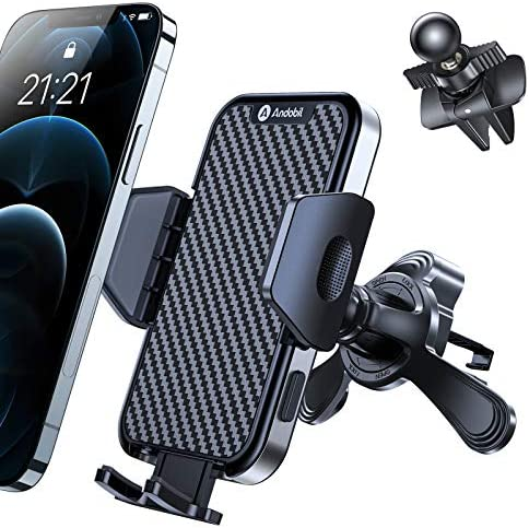 Andobil Newest Car Phone Holder Mount [Most Stable Hook Design for Vent] Hands Free & Universal Air Vent Phone Holder for Car, Compatible with iPhone 12/12 Pro/12 Pro Max/11, Samsung S21/S20 etc