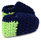 Baby Boys and Girls Seattle Seahawks Navy Blue and Lime Green Warm Hand Knitted Baby Boots Booties Slippers Shoes