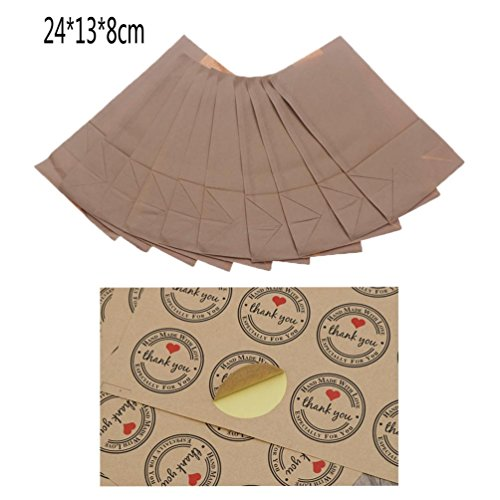 IYSHOUGONG 10 Pcs Medium Kraft Paper Lunch Bags Paper Grocery Bags Durable Kraft Paper Bags Bakery Bags and 1 Sheet Thank You Stickers