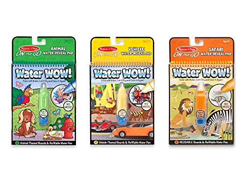 Melissa amp Doug On the Go Water Wow Reusable WaterReveal Activity Pads 3pk Vehicles Animals Safari