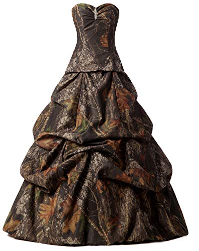 Snowskite Womens A-line Strapless Sweetheart Pick-up Camo Wedding Bridal Dress 12