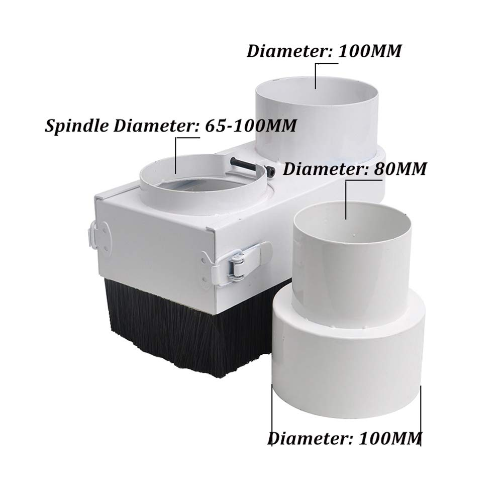 SODIAL CNC Dust Cover Collector 80Mm Dust Cover Brush for CNC Spindle 2.2Kw 1.5Kw Motor Milling Machine Router Woodworking Tools