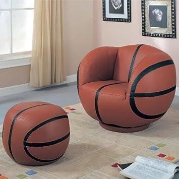 Coaster Kidu0027s Swivel Chair And Ottoman Set, Basketball Design, 2 Pieces