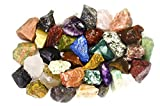 2 Pounds (BEST VALUE) Bulk Rough INDIA Stone Mix - Over 25 Stone Types - Large 1'' Natural Raw Stones & Fountain Rocks for Cabbing, Tumbling, Lapidary & Polishing and Reiki Healing