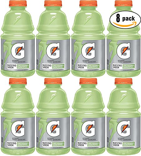 Gatorade Cucumber Lime (Limon Pepino), Light Green, Thirst Quencher Sports Drink, 32oz Bottle (Pack of 8, Total of 256 -