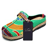 Walking Slip-On, Tezoo Women's Summer Breathable Blackless Walking Shoes, Colorful Sun Flower Series Embroidered Shoes, Outdoor Leisure Garden Clogs, House Slipers, Scandals Green 13