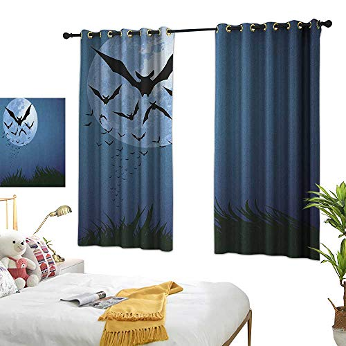 Bedroom Curtains W55 x L45 Halloween,A Cloud of Bats Flying Through The Night with a Full Moon Fall Season, Night Blue Black Grey Living Dining Room Curtain 2 Panels -