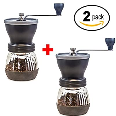 Khaw-Fee HG1B Manual Coffee Grinder with Conical Ceramic Burr - Because Hand Ground Coffee Beans Taste Best, Infinitely Adjustable Grind, Glass Jar, Stainless Steel Built To Last, Quiet, Portable by Khaw-Fee