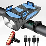 LED Bike Light Set 4 in 1 USB Rechargeable,Super Bright Bike Front Light 1500 Lumen IPX6,with Cycle Headlight