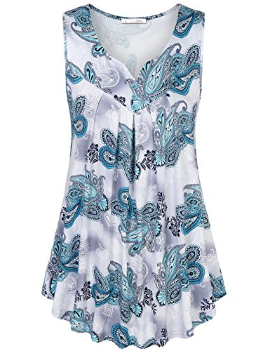 Messic Sleeveless Paisley Printed Pleated