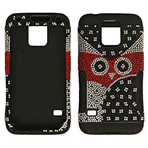 Cell Armor Samsung Galaxy S5 Hopper Protective Case - Retail Packaging - Crystal Black/White Owl Snap and Black Skin by Maris's Diary
