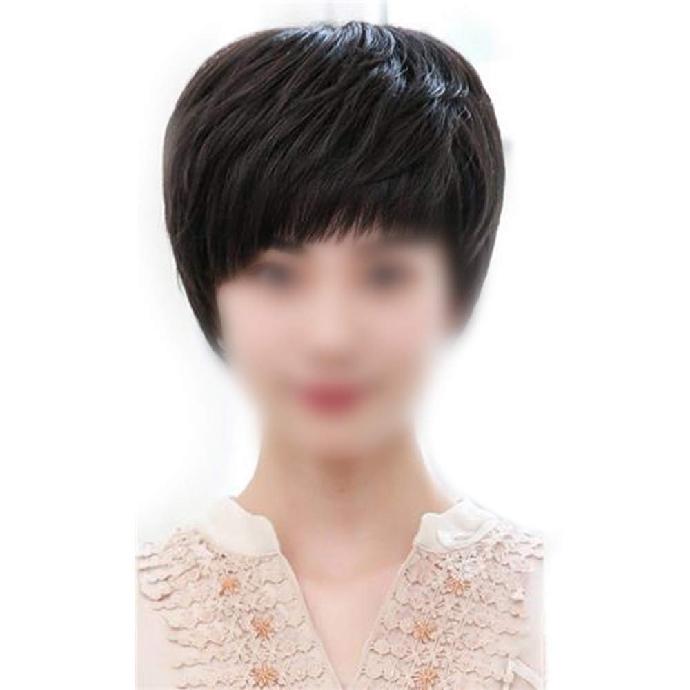 YAHONGOE 中年のファッションかつらのための女性の自然な手織りのリアルヘアショートカーリーヘアーウィッグ (色 : Dark brown) B07QKBJY5L Dark brown