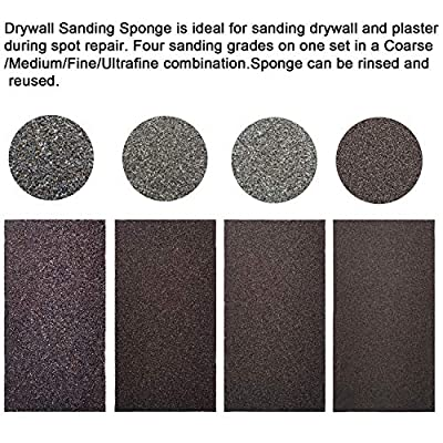 "Tonmp Drywall Sanding Sponge,Coarse/Medium/Fine/Superfine 4 Different Specifications Sanding Blocks Assortment - 4.875""x2.625""x1""(4 Pack)"