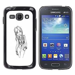 YOYOYO Smartphone Protección Defender Duro Negro Funda Imagen Diseño Carcasa Tapa Case Skin Cover Para Samsung Galaxy Ace 3 GT-S7270 GT-S7275 GT-S7272 - Chica médico boceto sexy blanco negro