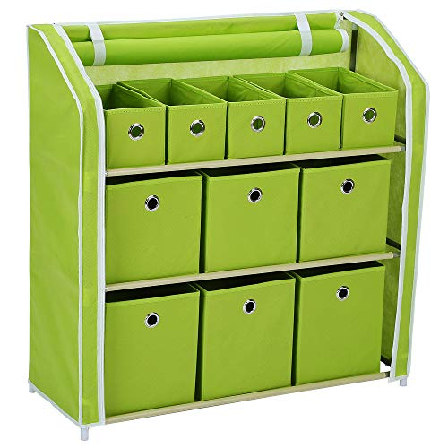 Home-Like 11 Drawer Storage Organizer,Muti-Bin Toy Organizer, 3 Tier Metal Shelves with 11 Removable Fabric Bins, DIY Multi-Purpose Storage Chest Suit for Home Office Bedroom Playroom, Green