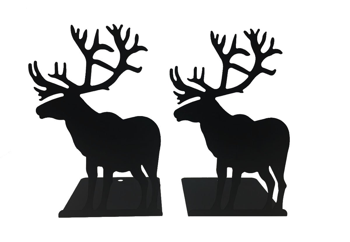 A Lovely Elk Shaped Metal Bookends-Literature Supplies For Kids Children Bedroom Library School Office Desk Study Gift(Black)