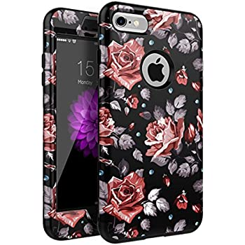 XIQI iPhone 7 Case,iPhone 8 Case Flower Three Layer Heavy Duty Shockproof Cute Girls Woman Anti-Scratch Case Cover for Apple iPhone 7/iPhone 8 4.7 inch,New Black Roses