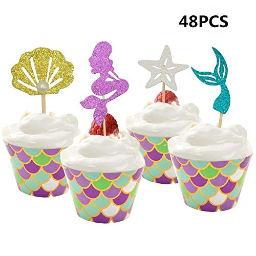 48 Pack Pearl Glitter Mermaid Cupcake Toppers and Wrappers, Cake Decoration for Little Mermaid Theme, Birthday Party Supplies,Mermaid Tail, Seahorse,Starfish -