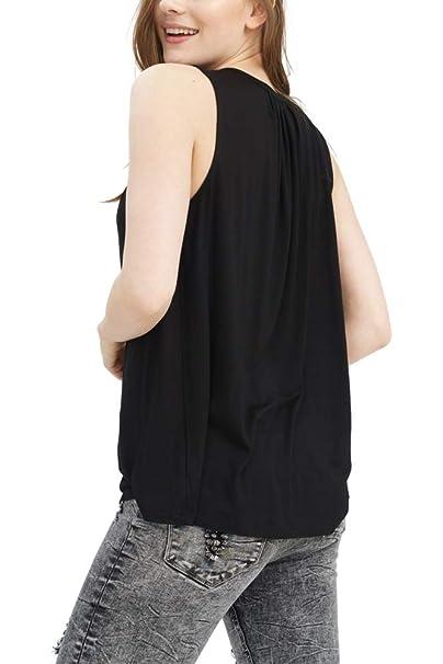 ... Camiseta Basico Ropa Retro Vintage Rock Vestir Moda Cuello Redondo Sin Manga Slim Fit Designer Cool Urban Fashion Top Blusa Color Negro 1283507-2999: ...