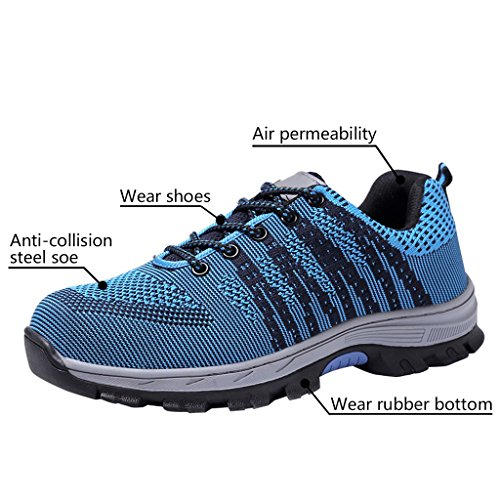 Shoes Optimal Men's Steel Toe Shoes 2 Work Blue Shoes Safety Black rErBRxXdqn