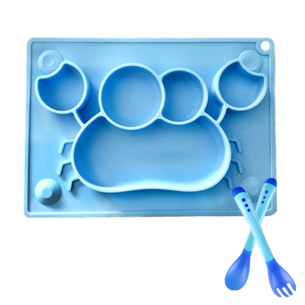 Silicone Baby Plate, with Sensitive Spoon and Fork FDA Approved Placemat BPA-Free Suction Plates Non-Slip Food Tray Plate 4 Strong Suctions 1 Hole for Hanging (Blue Crab) by Kuiji
