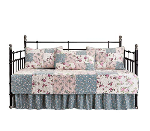 (Chezmoi Collection Abbi 5-Piece Garden Floral Vintage Washed 100%-Cotton Reversible Patchwork Quilt Set (Daybed Size))
