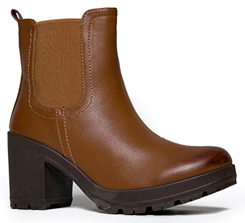 MarBel Womens Vegan Leather Chelsea Boot - Lightweight Pull on Casual Ankle Bootie,Color:TanPU,Size:6