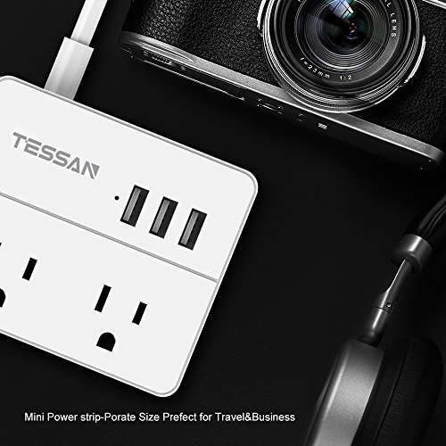 TESSAN Portable 2 Outlet Travel Power Strip with 3 USB Ports Charging Station 5 Ft Cord-White by TESSAN (Image #8)