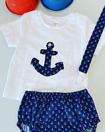 49042d8141a5f Conjunto Camiseta y Cubrepañal Bebe Anclas  Amazon.es  Handmade
