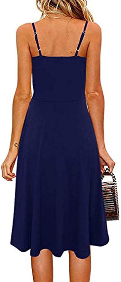 MORETIME 2020 letnia sukienka damska, odświętna sukienka z guzikami, bez rękawÓw, długa sukienka na imprezę, na gorące lato, boho, świeżość, wiele kolorÓw: Odzie&