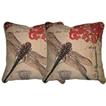 DaDa Bedding CC-15041 Dragonfly Dream Woven Cushion Cover, 18 by 18-Inch, Set of 2
