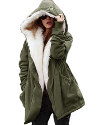 Aox - Chaqueta de Invierno para Mujer, Estilo Casual, con Capucha de Piel sintética