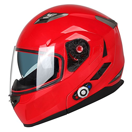 - Motorcycle Bluetooth Helmets,FreedConn Flip up Dual Visors Full Face Helmet,Built-in Integrated Intercom Communication System(Range 500M,2-3Riders Pairing,FM radio,Waterproof,L,Red)