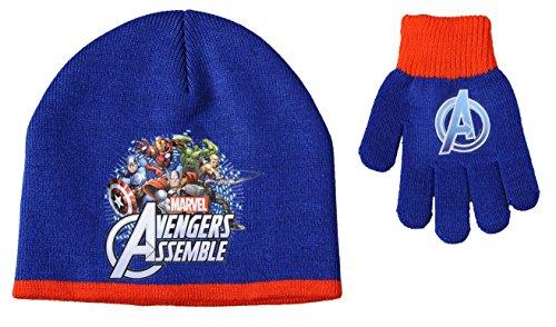 Boy's Marvel Assemble Avengers Superheroes Winter Hat & Gloves Set (Captain America) Winter Hat & Gloves Set New Kids 2 Piece Set (Navy)