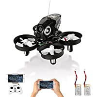 Furibee Mini Drone with Camera Live Video, H801 Wifi FPV RC Quadcopter Drone RTF with Altitude Hold, One Key Return for Kids, Beginners, Adults (2 Batteries Black)