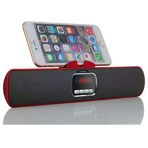 LarKoo Ultra Portable Wireles Rechargeable Handsfree Bracket Bluetooth Speaker Stereo System Phone Holder Mount Stand for Android Smartphones and Tablets iPad iPhone 5S 6 6S 7 8 Plus X (Red) by LarKoo
