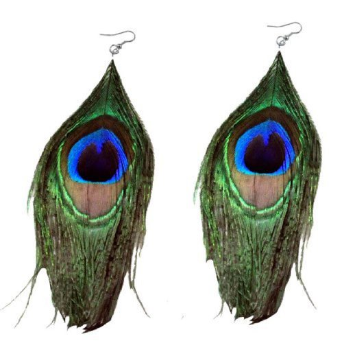 Natural Peacock Feather Earrings - Genuine Natural Peacock Feather Earrings
