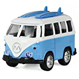 Surf Van with Surfboards on Top in Die Cast Metal Pull Back Play Toy Vehicles with Lights and Sounds - iPlay, iLearn (Blue)