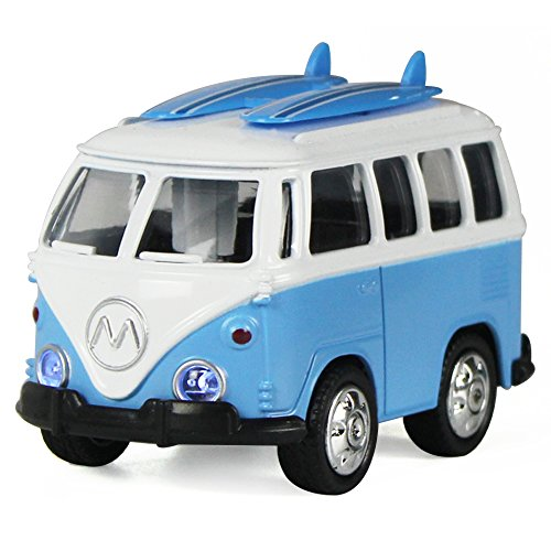 iPlay, iLearn Surf Van with Surfboards on Top in Die Cast Metal Pull Back Play Toy Vehicles w/ Lights and Sounds, Stocking Stuffers Gift for Kids, Boys and Girls (Blue)
