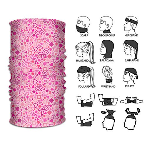 Queendesign Breast Cancer Awareness Neck Gaiter Headwear Headband Magic Scarf Seamless Bandana for Runing Fishing Hiking Motorcycle for Women and Men