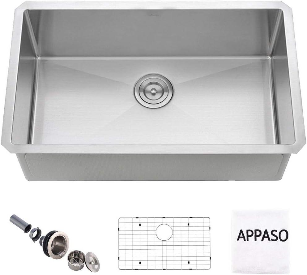 APPASO 28-Inch Single Bowl Kitchen Sink Undermount, 16-Gauge Stainless Steel 10-Inch Deep Laundry Utility Sink, Commercial Handmade Kitchen Sink,HS2818