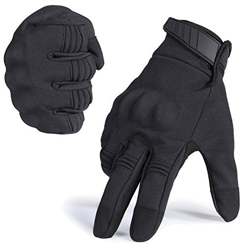JIUSY Winter Windproof Warmer Touch Screen Military Rubber Hard Knuckle Tactical Gloves Full Finger Gloves for Cycling Motorcycle Hunting Snowboard Riding Bicycle Work Outdoor Black Size Large