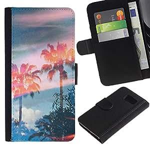 iBinBang / Flip Funda de Cuero Case Cover - Trees Magic Summer Sky - Samsung Galaxy S6 SM-G920