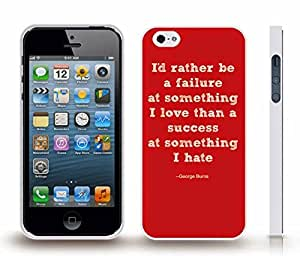 "iStar Cases? iPhone 4 Case with ""I'd rather be a failure at something I love..."" George Burns Quote, White Font on Red , Snap-on Cover, Hard Carrying Case (White)"